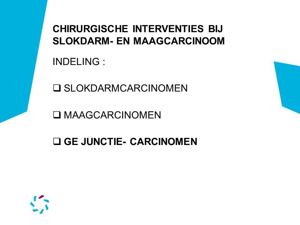 CHIRURGISCHE INTERVENTIES BIJ SLOKDARM- EN MAAGCARCINOOM