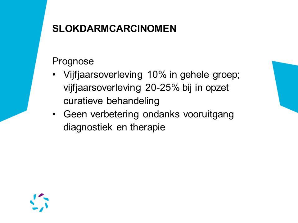 SLOKDARMCARCINOMEN Prognose. Vijfjaarsoverleving 10% in gehele groep; vijfjaarsoverleving 20-25% bij in opzet curatieve behandeling.