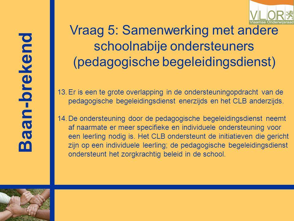 Vraag 5: Samenwerking met andere schoolnabije ondersteuners (pedagogische begeleidingsdienst)