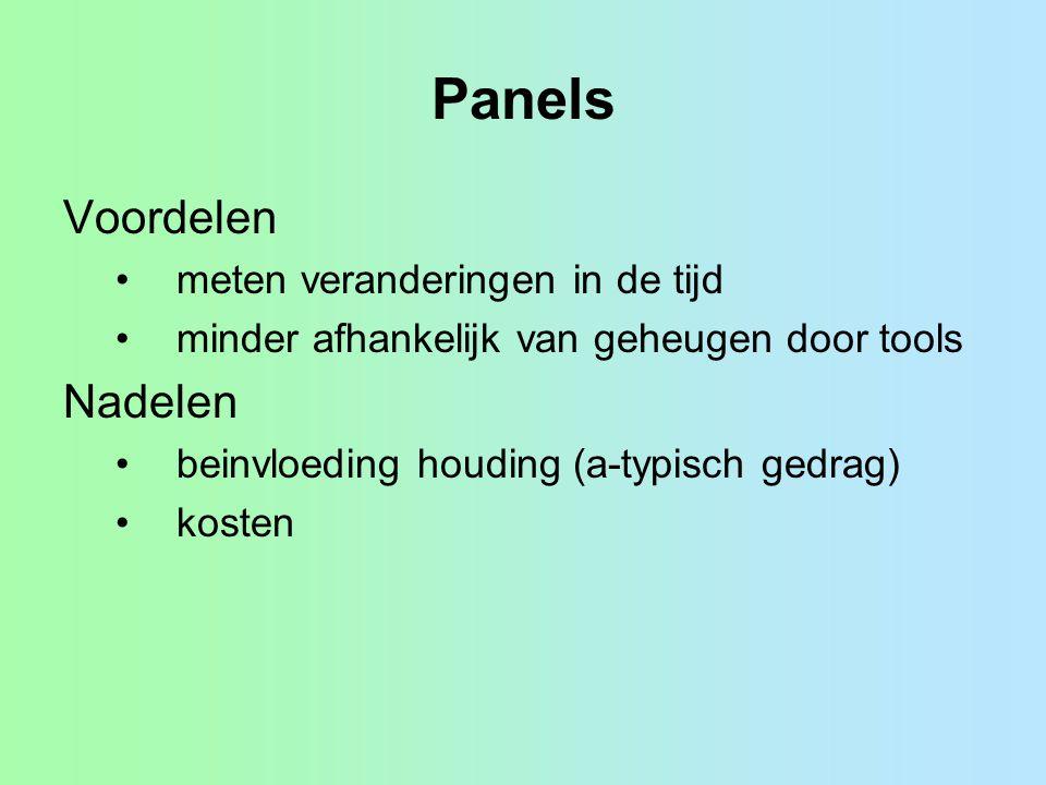 Panels Voordelen Nadelen meten veranderingen in de tijd
