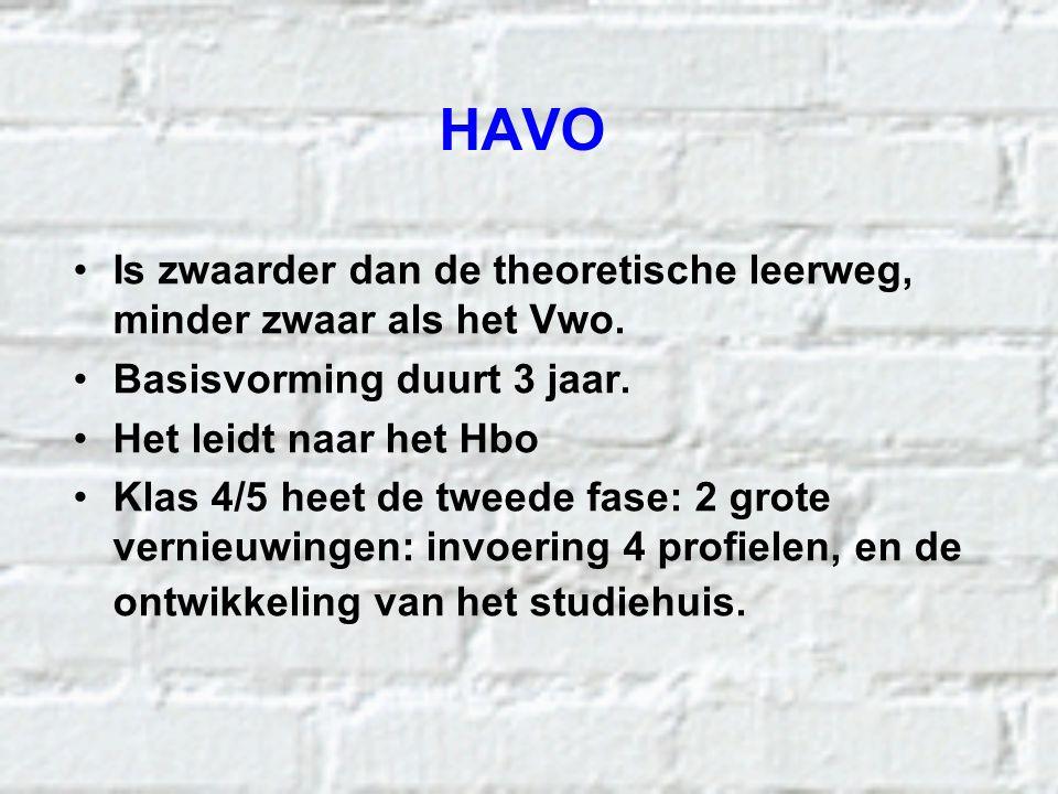 HAVO Is zwaarder dan de theoretische leerweg, minder zwaar als het Vwo. Basisvorming duurt 3 jaar.