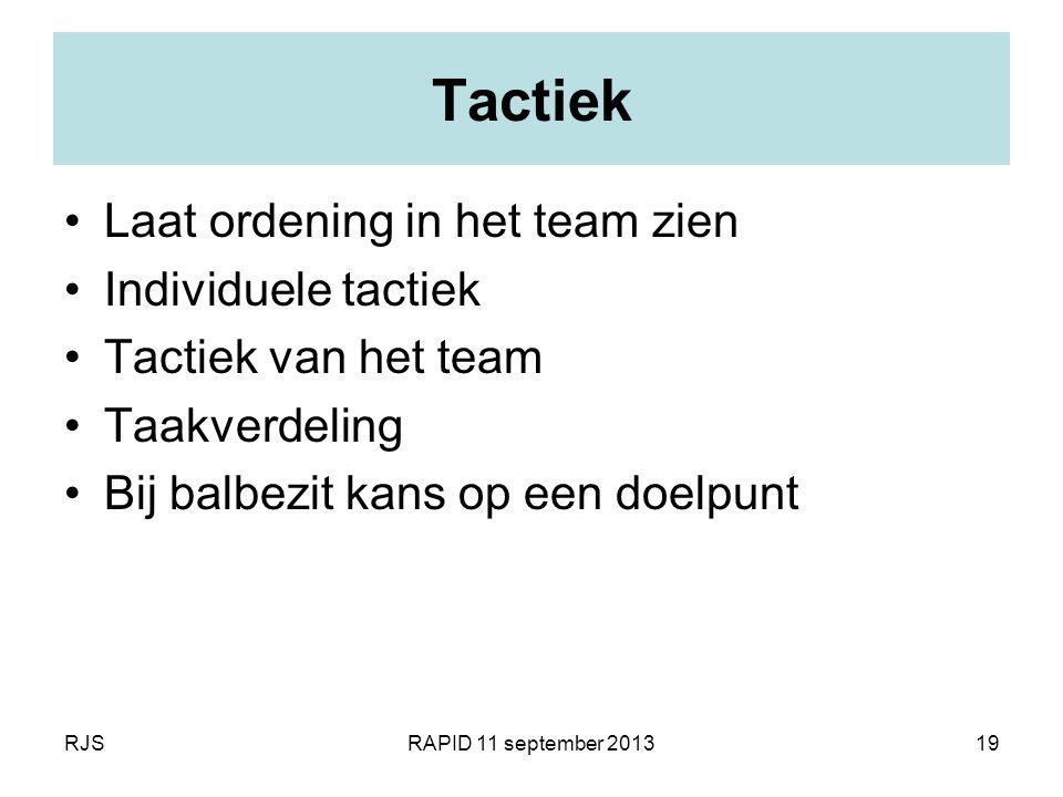 Tactiek Laat ordening in het team zien Individuele tactiek
