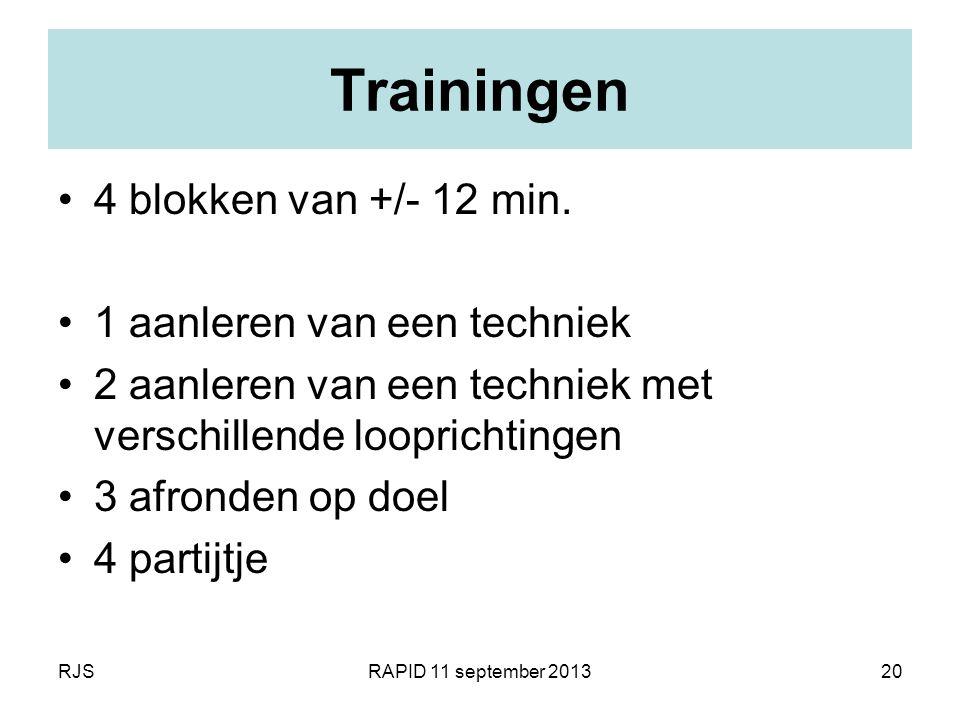 Trainingen 4 blokken van +/- 12 min. 1 aanleren van een techniek