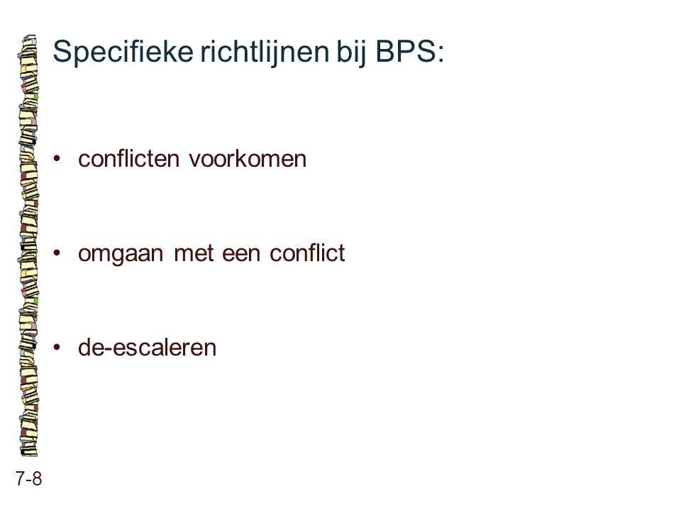 Specifieke richtlijnen bij BPS: