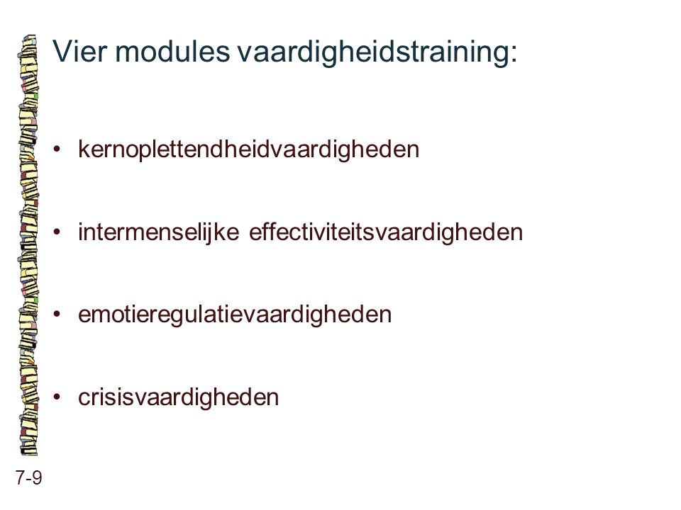 Vier modules vaardigheidstraining:
