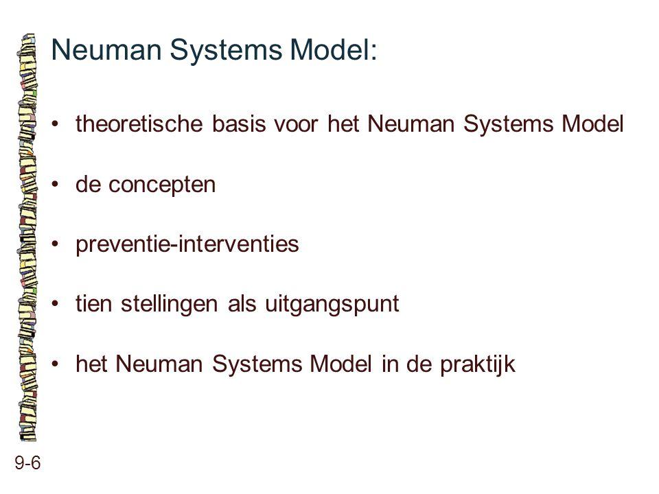 Neuman Systems Model: • theoretische basis voor het Neuman Systems Model. • de concepten. • preventie-interventies.