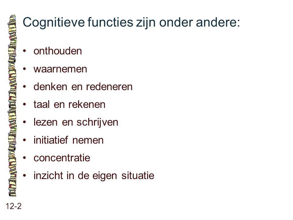 Cognitieve functies zijn onder andere: