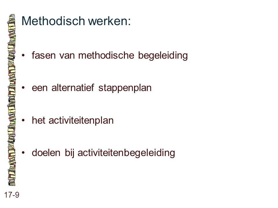 Methodisch werken: • fasen van methodische begeleiding