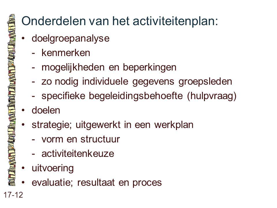 Onderdelen van het activiteitenplan: