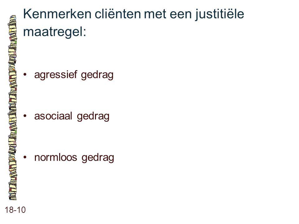 Kenmerken cliënten met een justitiële maatregel: