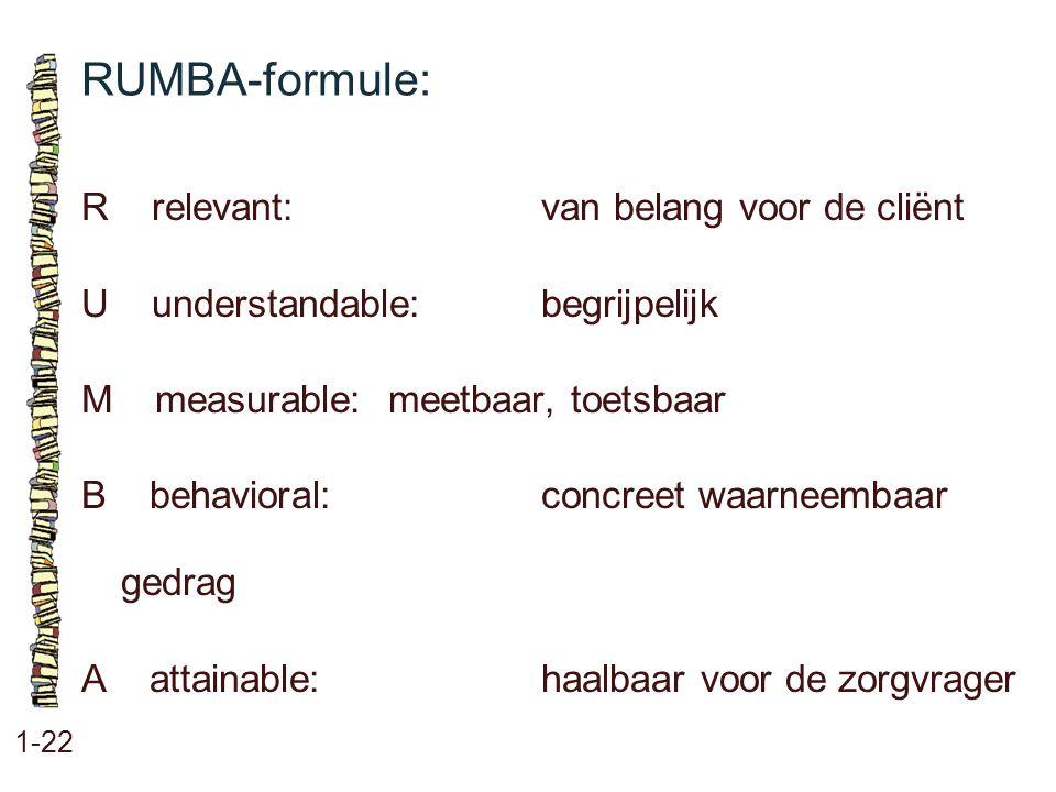 RUMBA-formule: R relevant: van belang voor de cliënt
