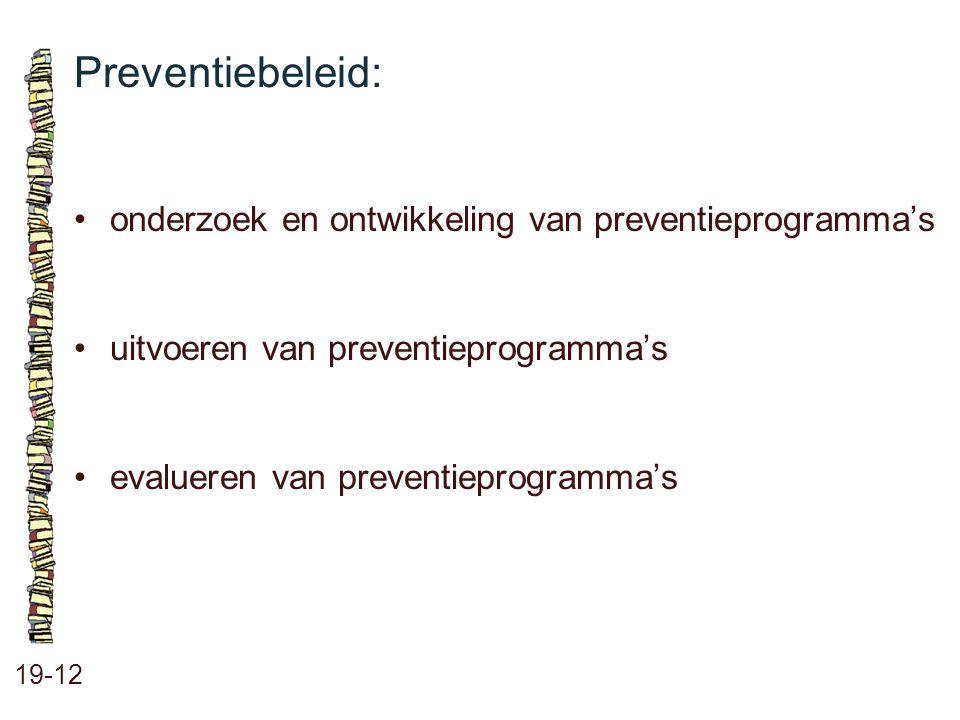 Preventiebeleid: • onderzoek en ontwikkeling van preventieprogramma's