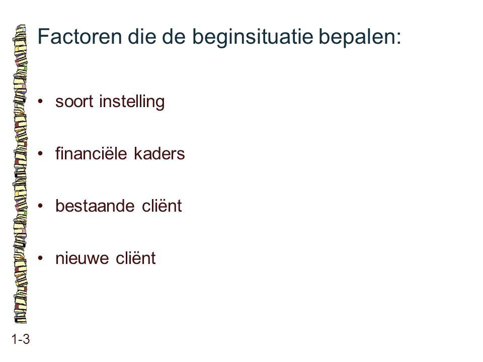 Factoren die de beginsituatie bepalen: