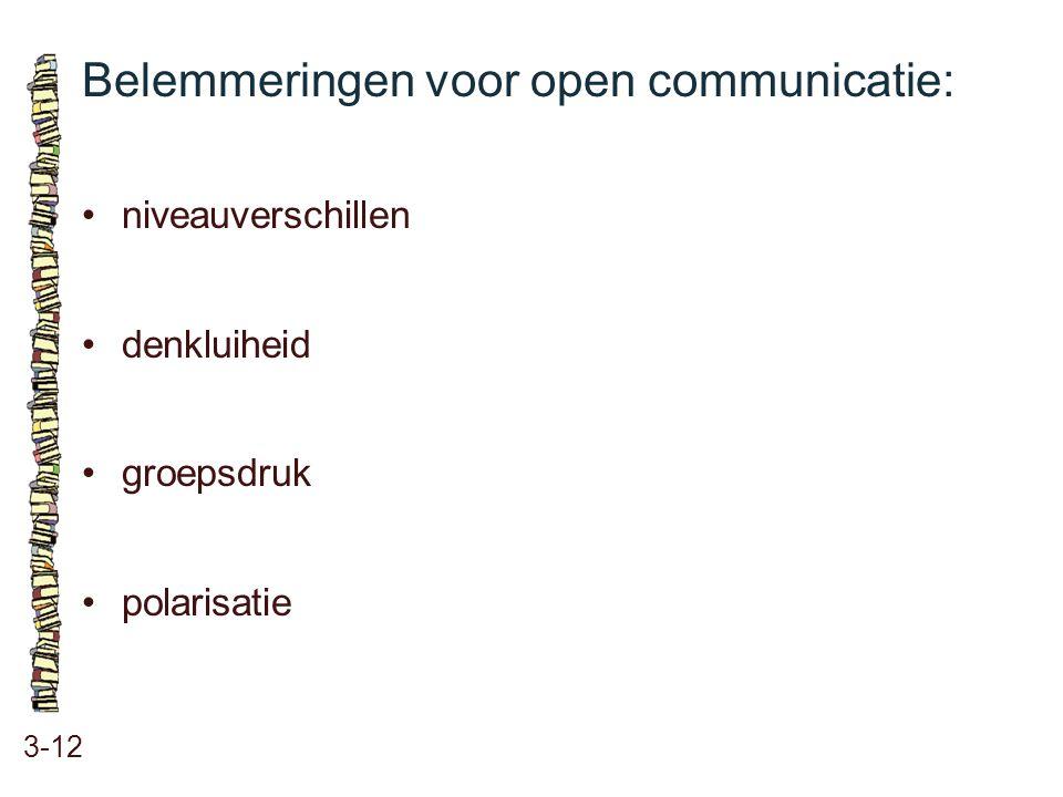 Belemmeringen voor open communicatie: