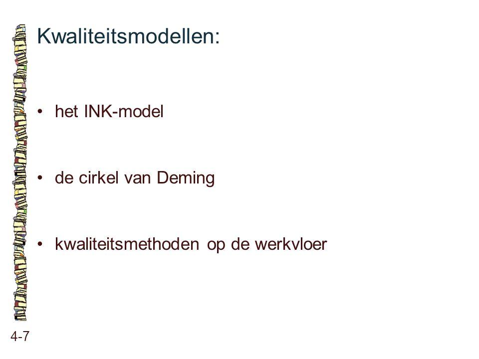 Kwaliteitsmodellen: • het INK-model • de cirkel van Deming