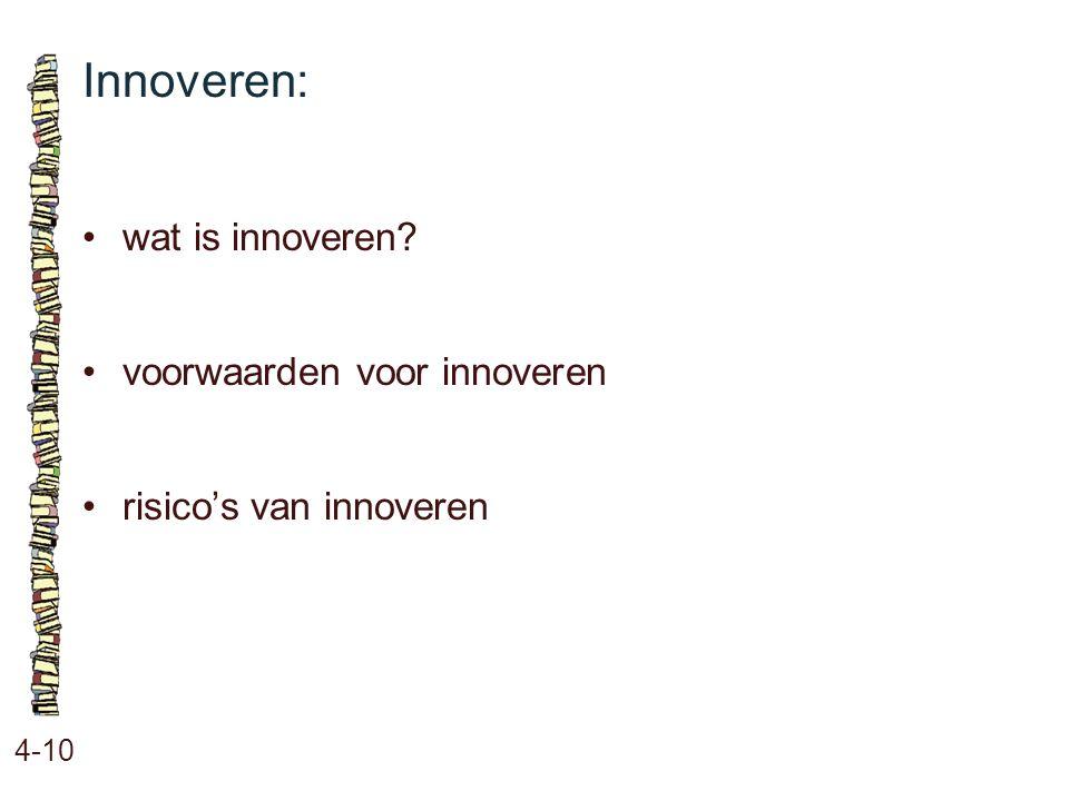 Innoveren: • wat is innoveren • voorwaarden voor innoveren