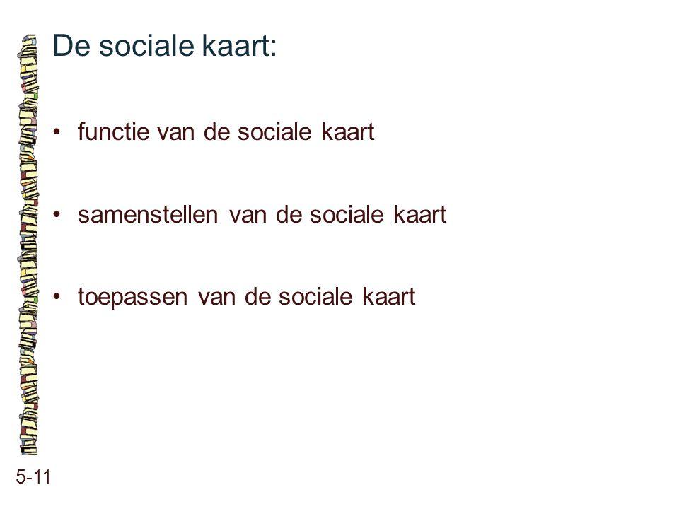 De sociale kaart: • functie van de sociale kaart
