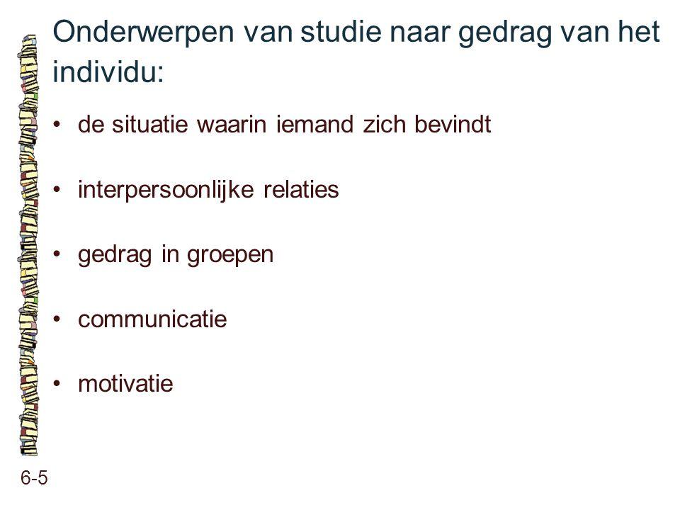 Onderwerpen van studie naar gedrag van het individu: