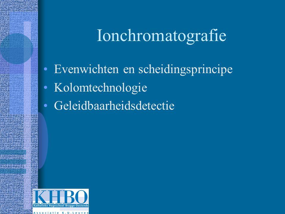 Ionchromatografie Evenwichten en scheidingsprincipe Kolomtechnologie