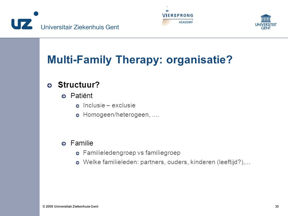 Multi-Family Therapy: organisatie