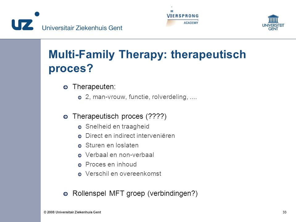 Multi-Family Therapy: therapeutisch proces