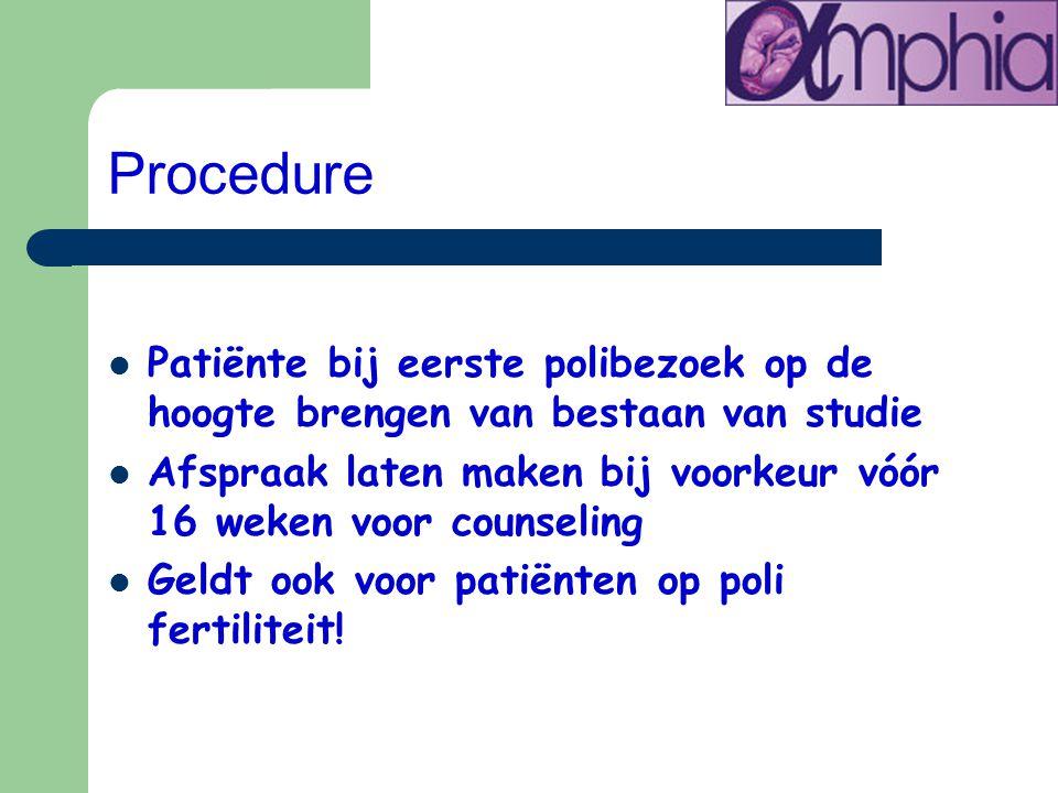 Procedure Patiënte bij eerste polibezoek op de hoogte brengen van bestaan van studie.