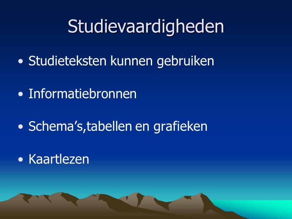 Studievaardigheden Studieteksten kunnen gebruiken Informatiebronnen