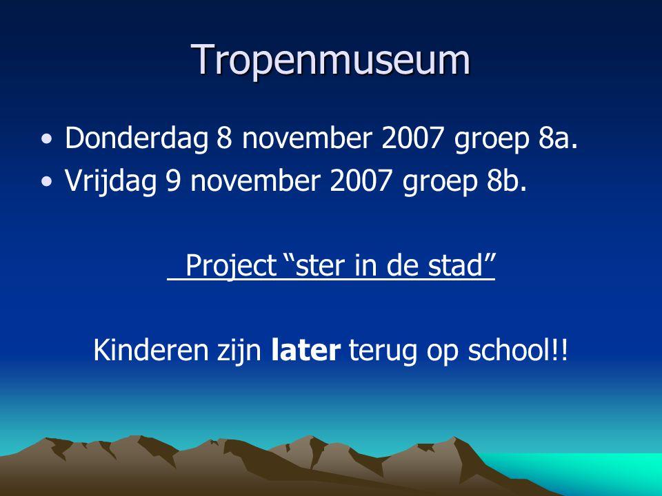 Tropenmuseum Donderdag 8 november 2007 groep 8a.