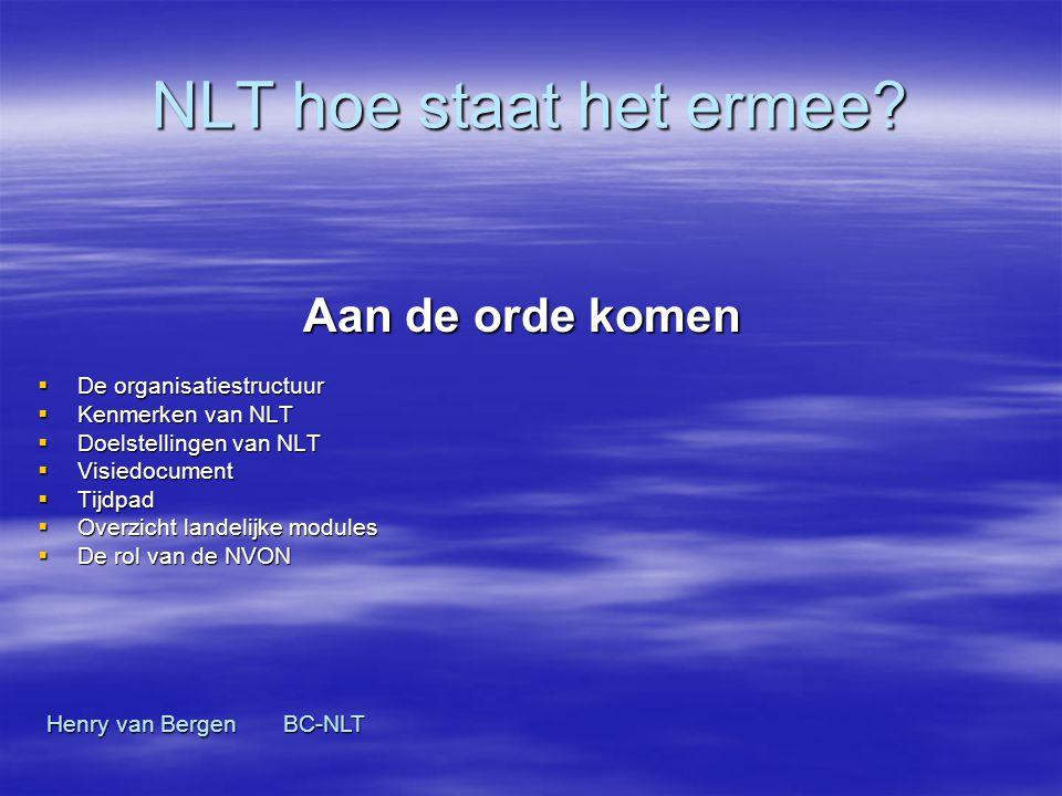 NLT hoe staat het ermee Aan de orde komen De organisatiestructuur
