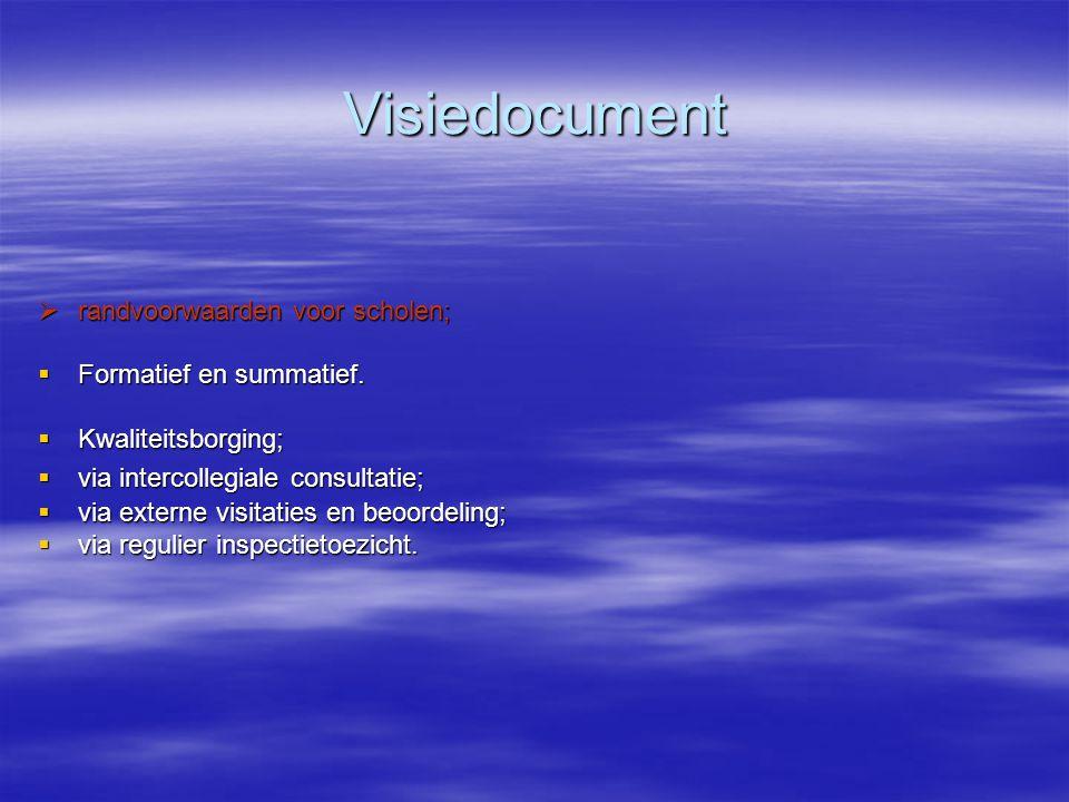 Visiedocument randvoorwaarden voor scholen; Formatief en summatief.