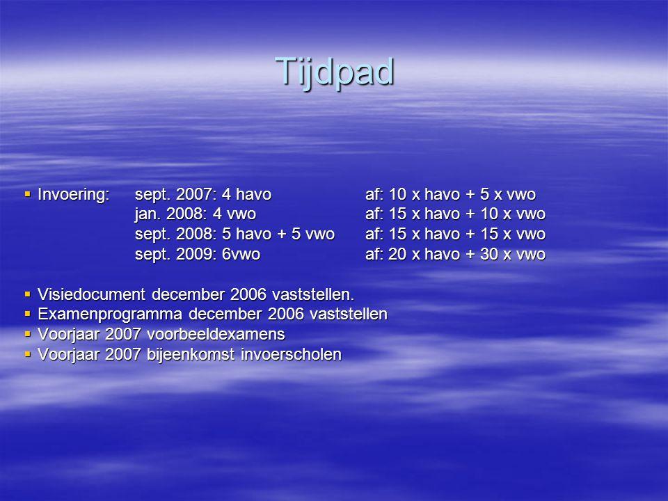 Tijdpad Invoering: sept. 2007: 4 havo af: 10 x havo + 5 x vwo