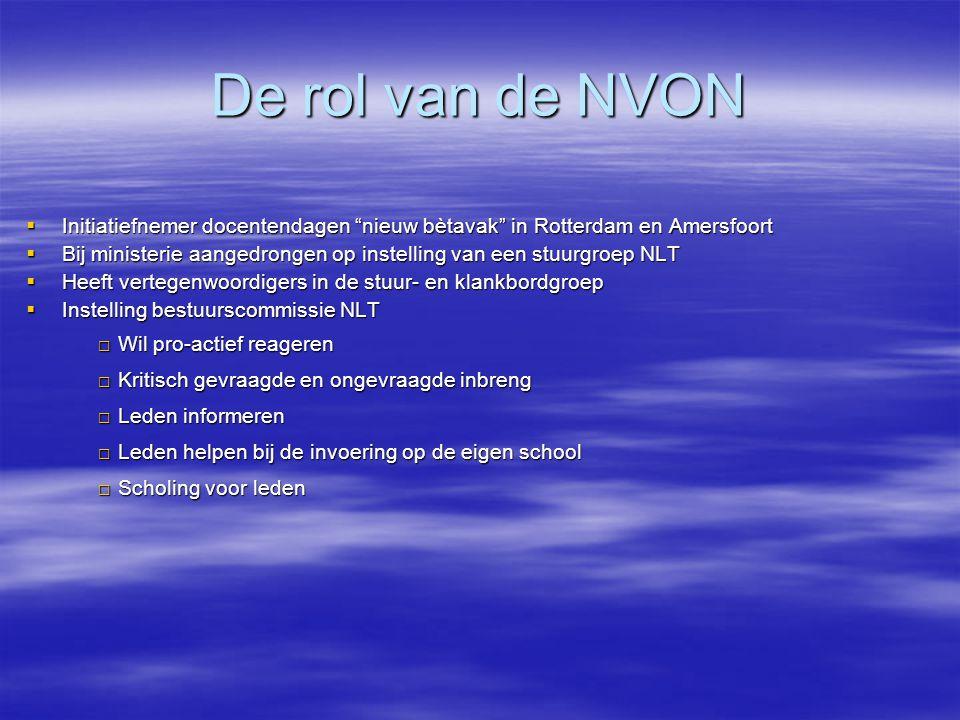 De rol van de NVON Initiatiefnemer docentendagen nieuw bètavak in Rotterdam en Amersfoort.