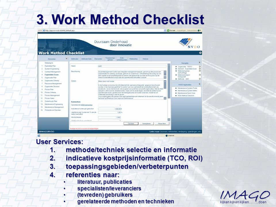 3. Work Method Checklist User Services: