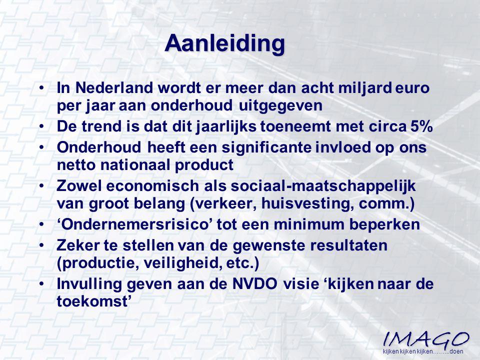 Aanleiding In Nederland wordt er meer dan acht miljard euro per jaar aan onderhoud uitgegeven. De trend is dat dit jaarlijks toeneemt met circa 5%