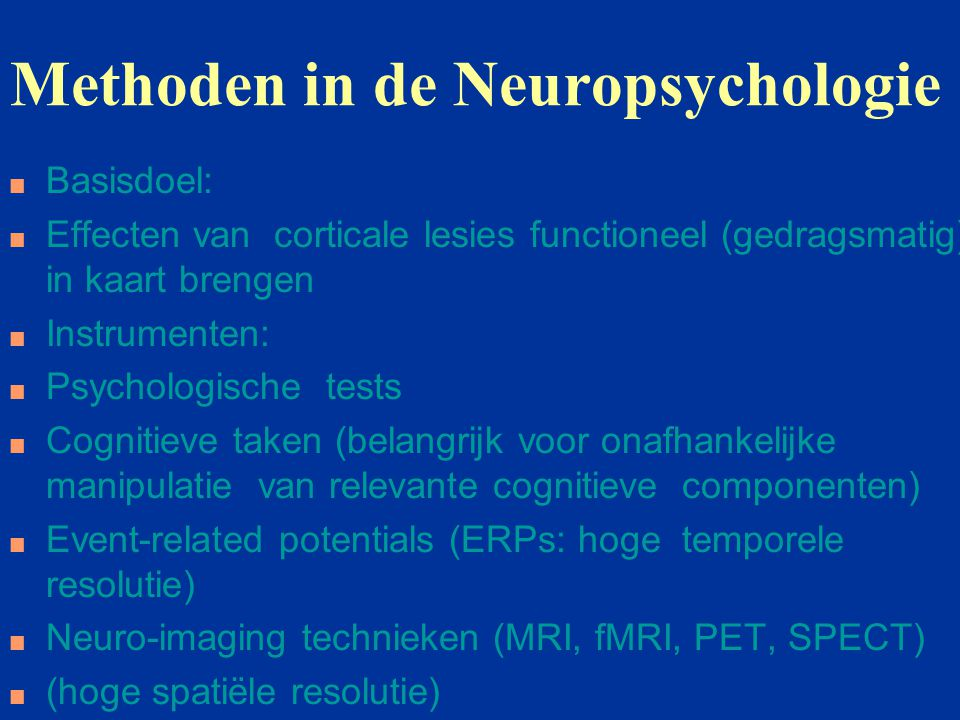 Methoden in de Neuropsychologie