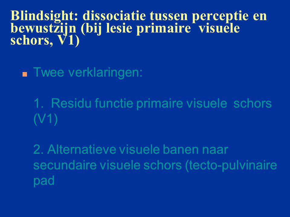 Blindsight: dissociatie tussen perceptie en bewustzijn (bij lesie primaire visuele schors, V1)