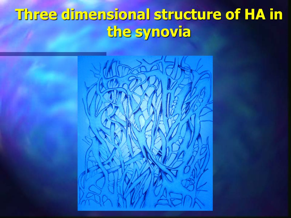 Three dimensional structure of HA in the synovia