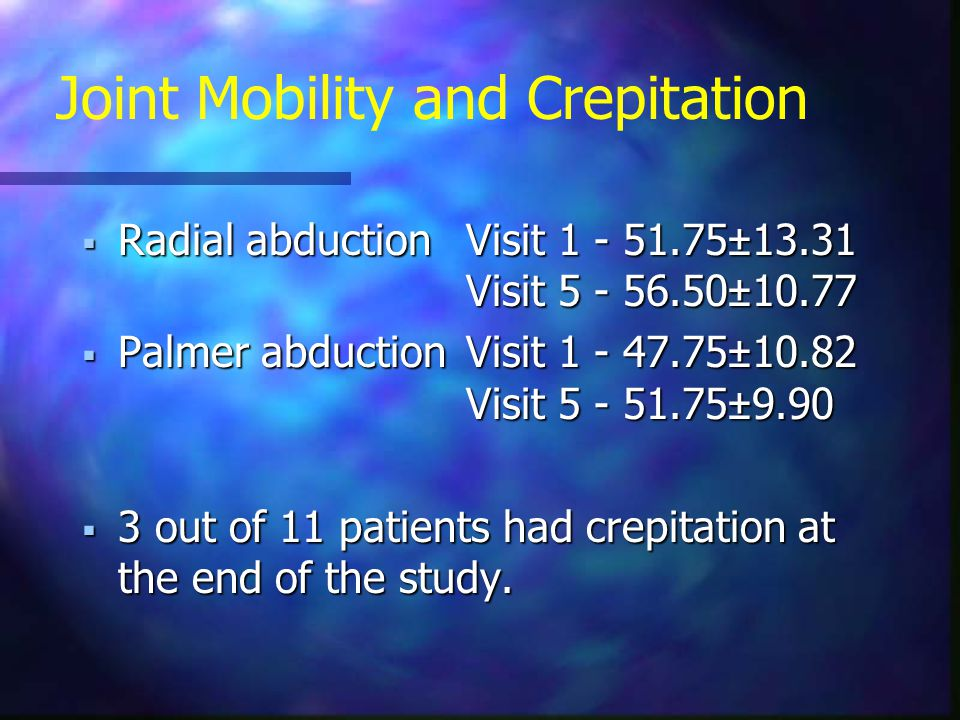 Joint Mobility and Crepitation