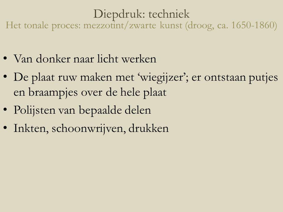 Diepdruk: techniek Het tonale proces: mezzotint/zwarte kunst (droog, ca. 1650-1860)