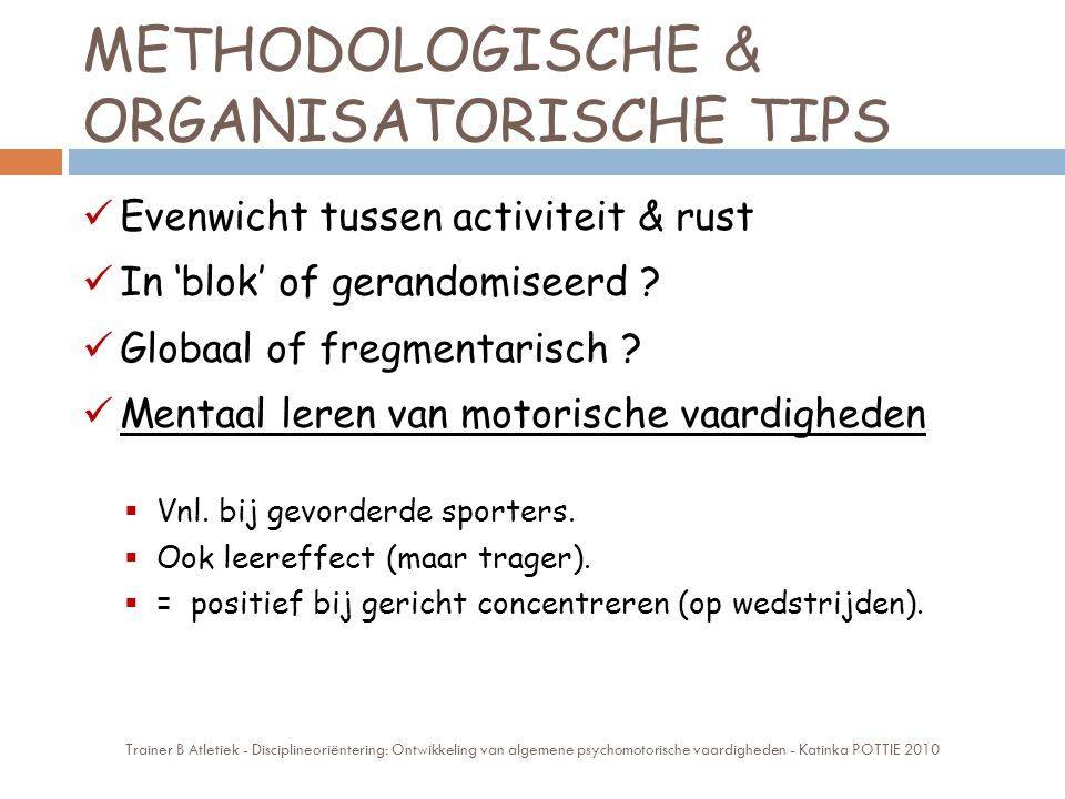 METHODOLOGISCHE & ORGANISATORISCHE TIPS