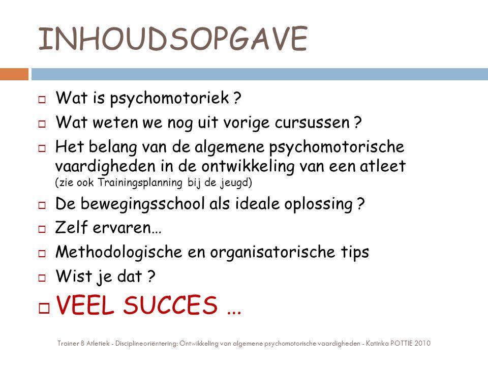 INHOUDSOPGAVE VEEL SUCCES … Wat is psychomotoriek