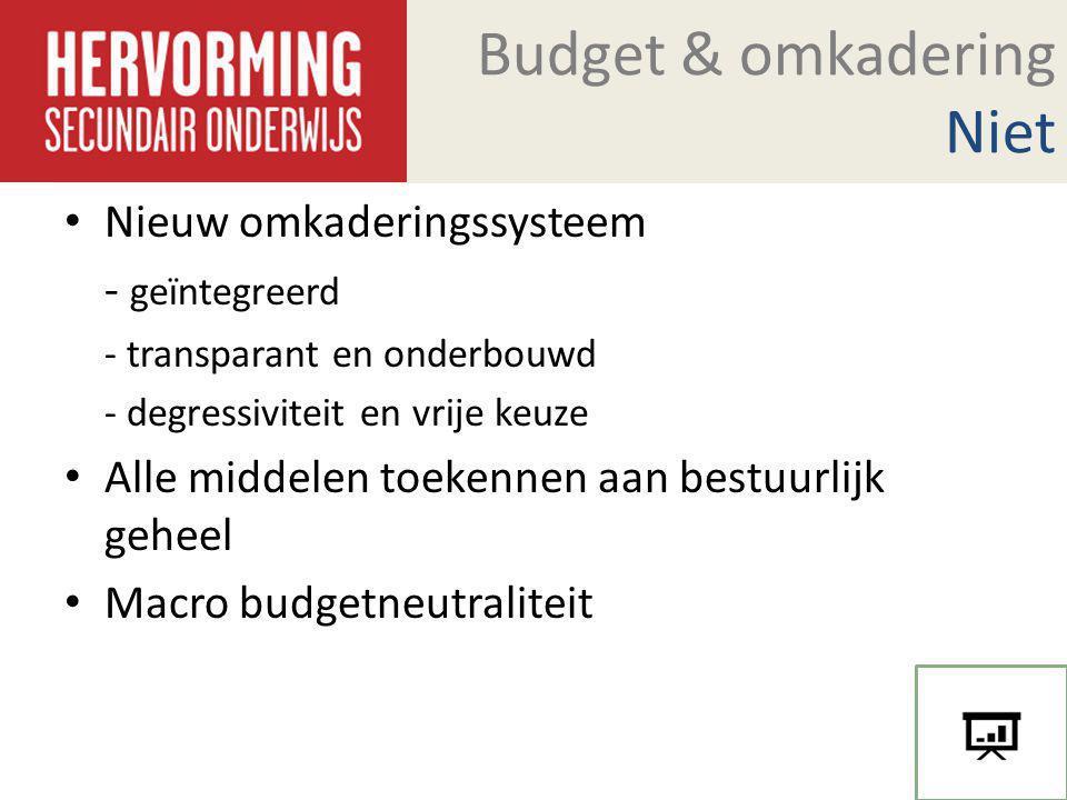 Budget & omkadering Niet