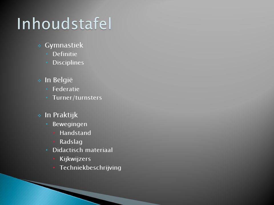 Inhoudstafel Gymnastiek In België In Praktijk Definitie Disciplines