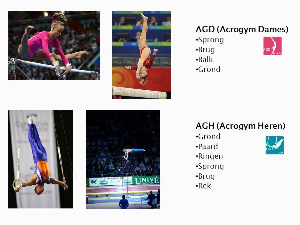 AGD (Acrogym Dames) AGH (Acrogym Heren) Sprong Brug Balk Grond Paard