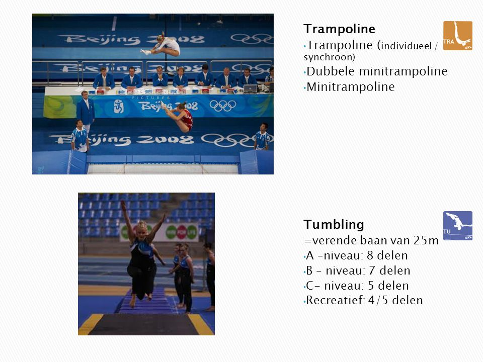 Trampoline Tumbling Trampoline (individueel / synchroon)