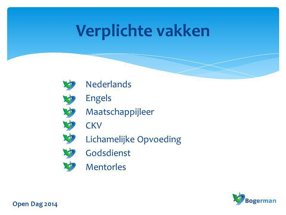 Verplichte vakken Nederlands Engels Maatschappijleer CKV Lichamelijke Opvoeding Godsdienst Mentorles