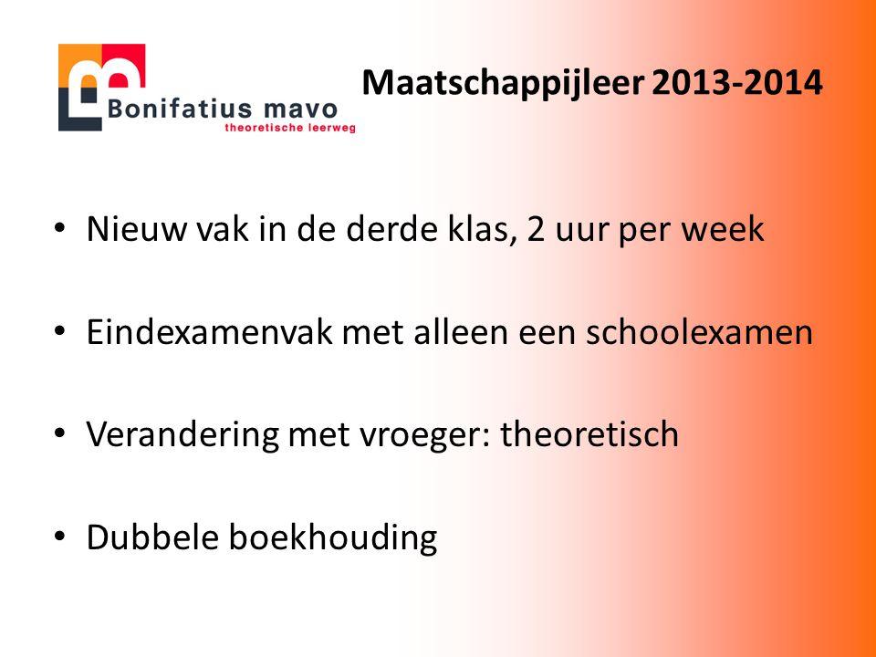 Maatschappijleer 2013-2014 Nieuw vak in de derde klas, 2 uur per week. Eindexamenvak met alleen een schoolexamen.