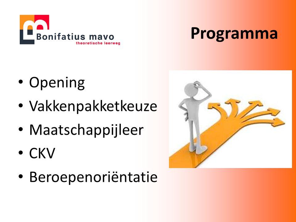 Programma Opening Vakkenpakketkeuze Maatschappijleer CKV