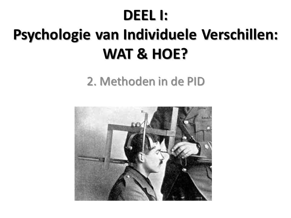 DEEL I: Psychologie van Individuele Verschillen: WAT & HOE