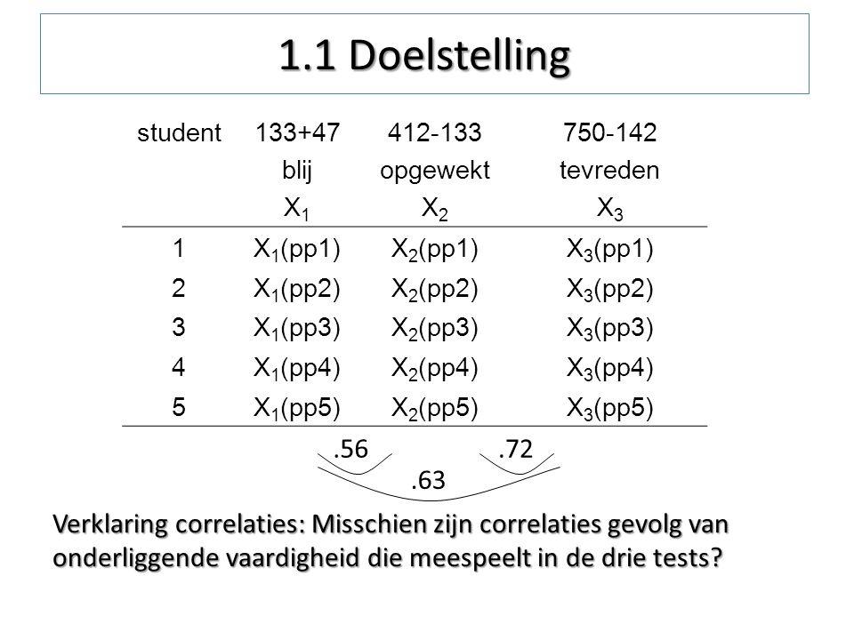 1.1 Doelstelling student. 133+47. blij. X1. 412-133. opgewekt. X2. 750-142. tevreden. X3. 1.